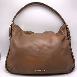 EUC Jimmy Choo Brown Leather/Python Trim Hobo Bag